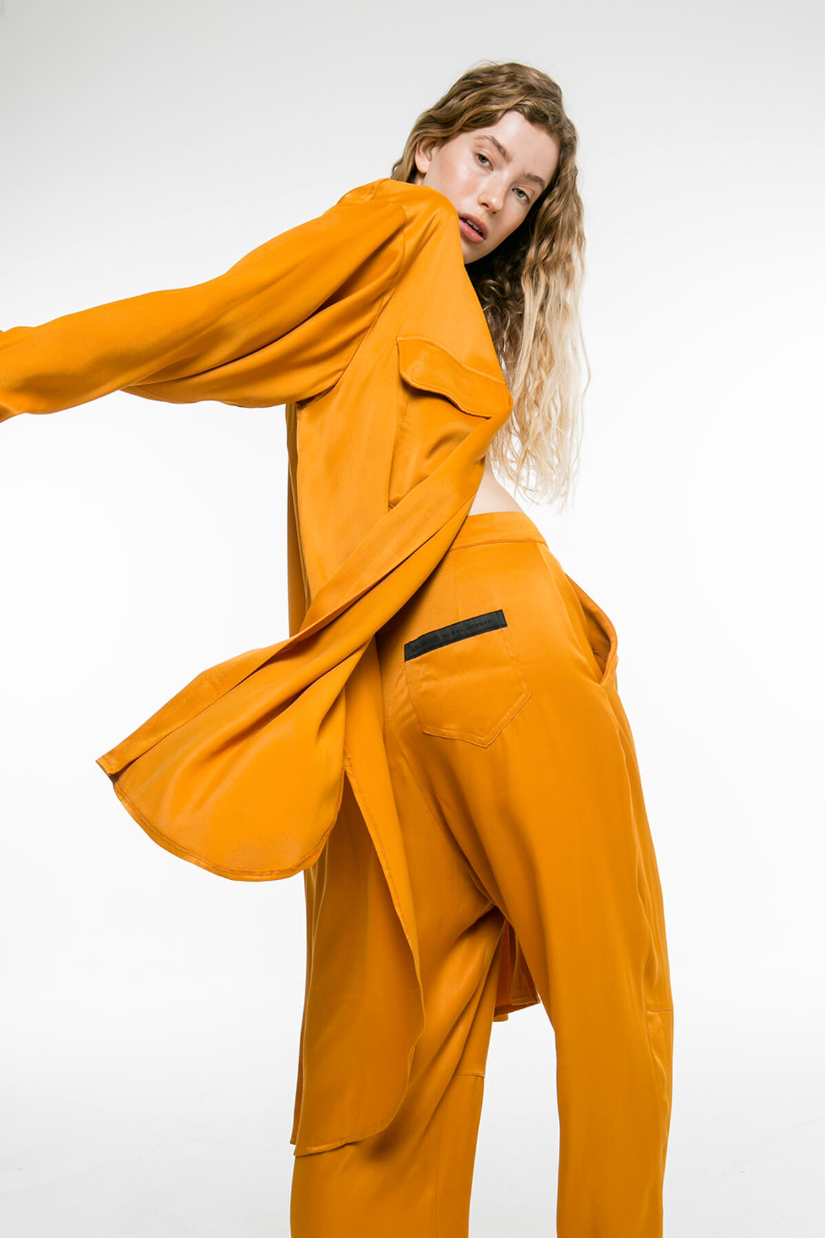 Yellow pants with pockets on the side with pockets on the side